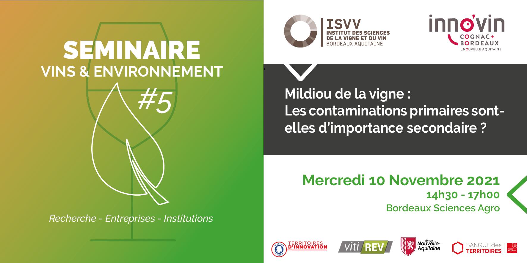 Séminaire ISVV « Vins & Environnement » #5 : Mildiou de la vigne